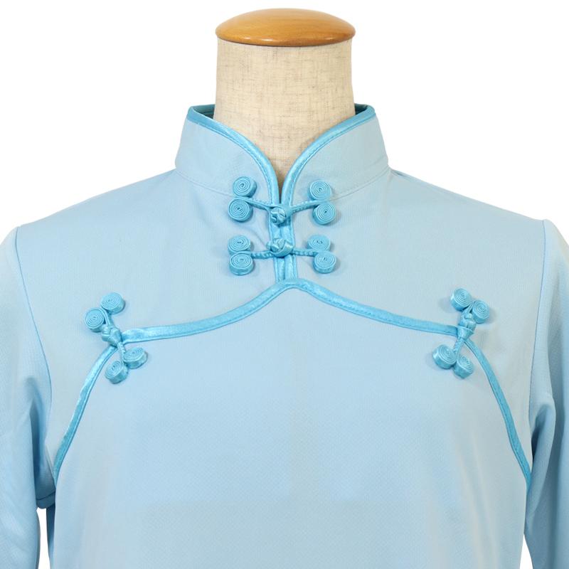【数量限定】プルオーバーC型 花ボタン【水色・半袖・婦人用】