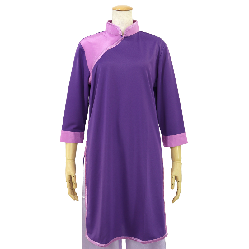 【数量限定】プルオーバーQ型 バックサテン使用【紫色・七分袖・男女兼用】