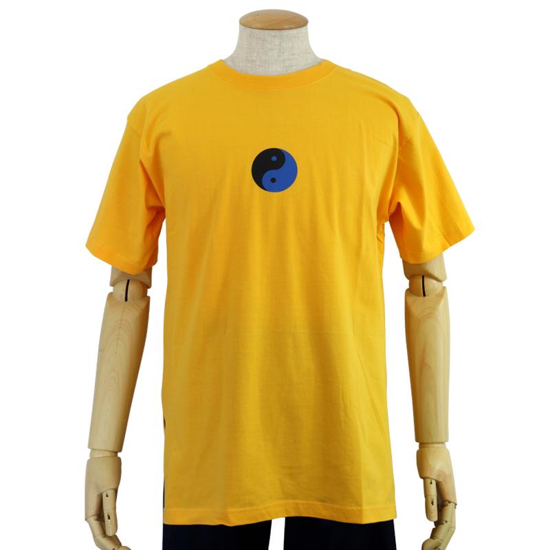 中国製 綿100%Tシャツ 武術太極(黄・S、LLサイズ)【半袖・プリント】