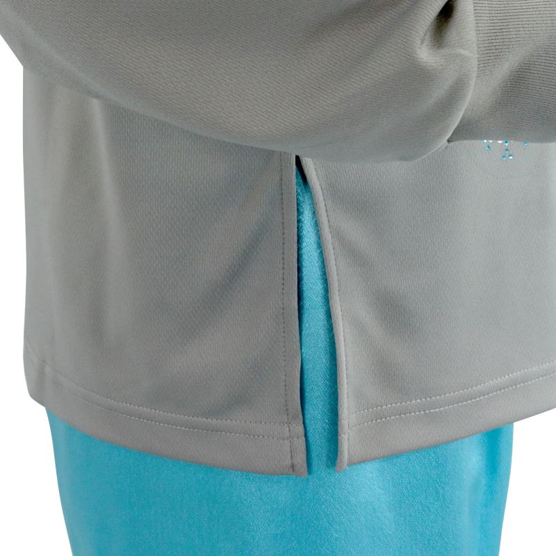 【特価】ドライ長袖Tシャツプリント(グレー・S、Lサイズ)+ラインストーン雪の華