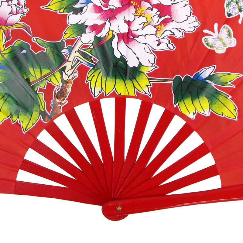 【中国製扇】牡丹(赤×赤骨)