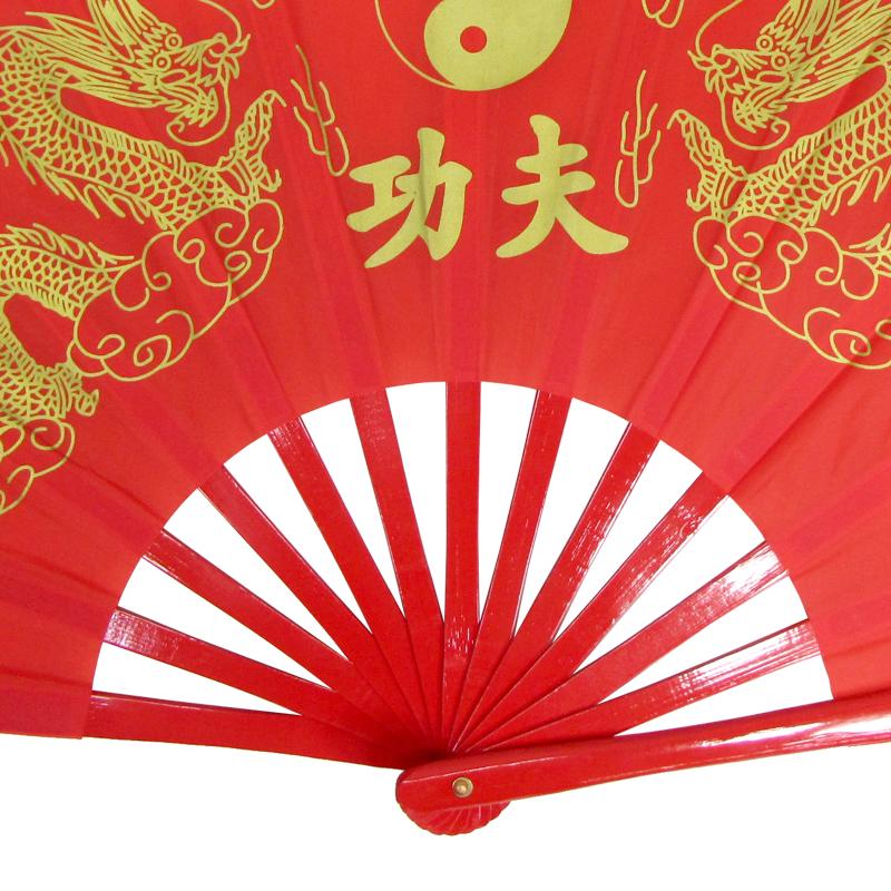 【中国製扇】功夫龍(赤×赤骨)