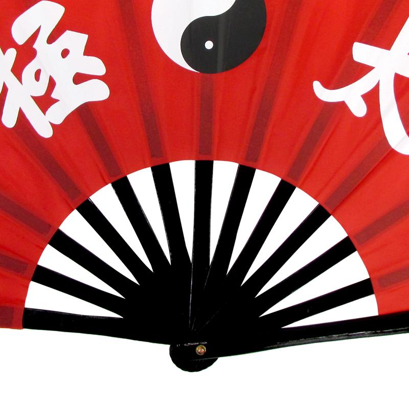【中国製扇】太極(赤×黒骨)