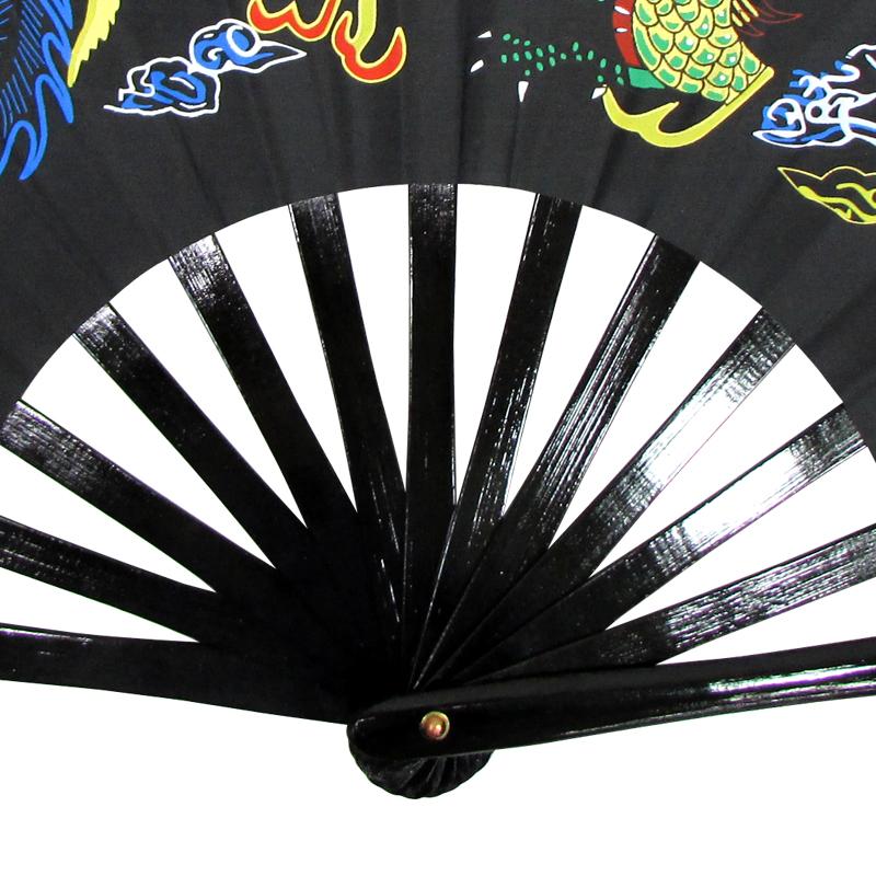 【中国製扇】鳳凰龍(黒×黒骨)