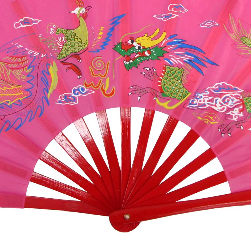 【中国製扇】鳳凰龍(ピンク×赤骨)