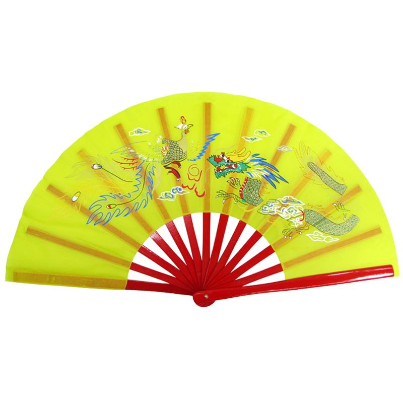 【中国製扇】鳳凰龍(黄×赤骨)