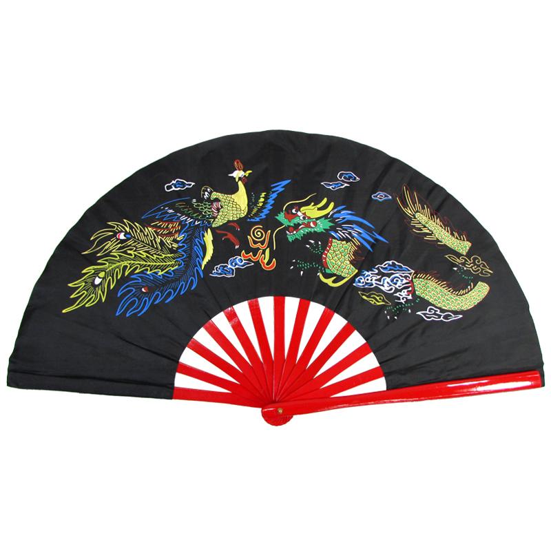 【中国製扇】鳳凰龍(黒×赤骨)