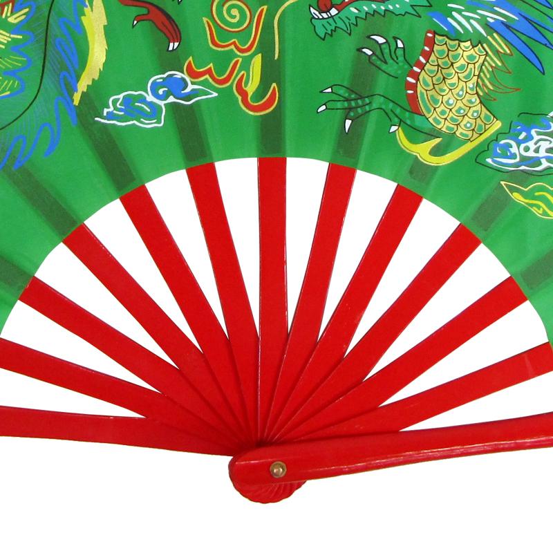 【中国製扇】鳳凰龍(緑×赤骨)