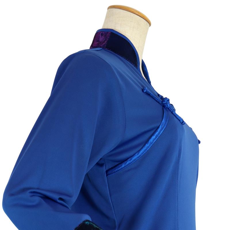 【数量限定】プルオーバーT型  棒ボタン・【青色・七分袖・婦人用】