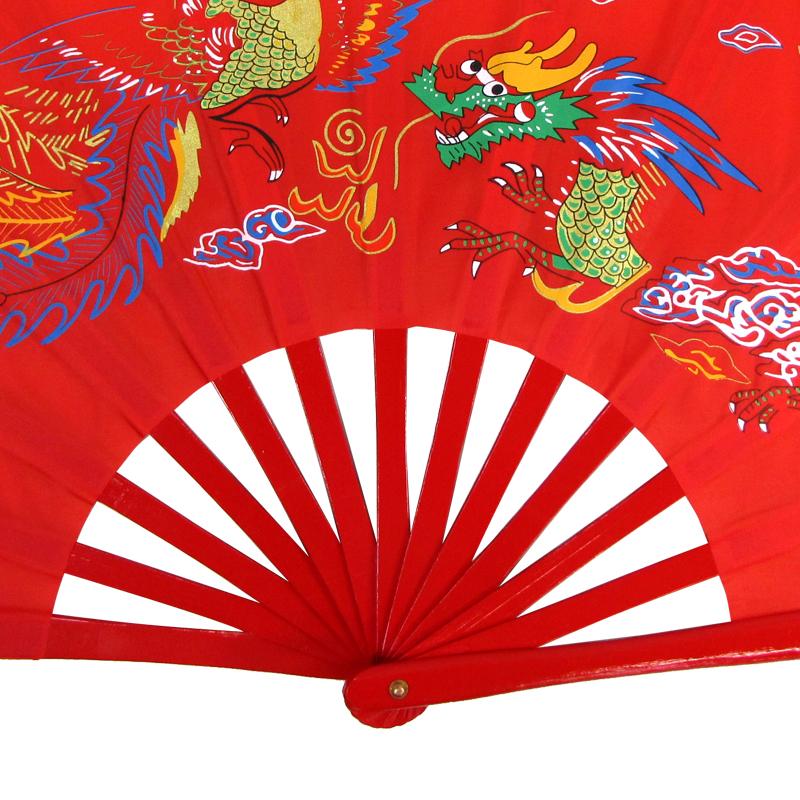 【中国製扇】鳳凰龍(赤×赤骨)