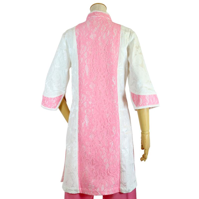 【数量限定】ジャガードプルオーバー(白×レースピンク)【七分袖・婦人用】