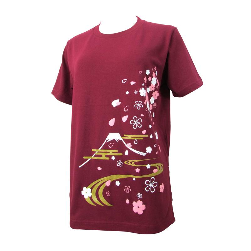 綿100%Tシャツ 和柄(桜)【半袖・プリント】