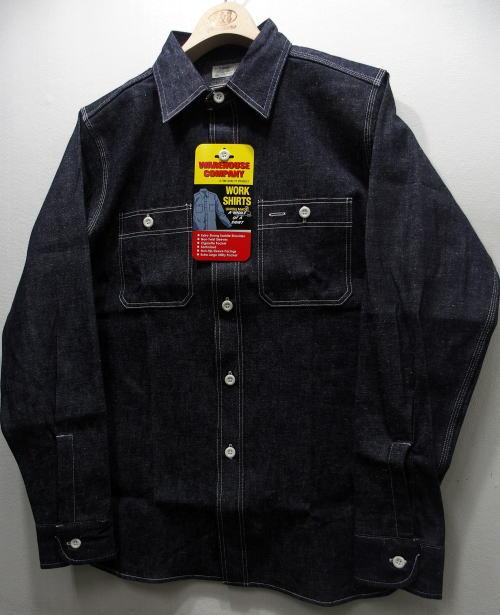 WAREHOUSE(ウエアハウス) [TRIPLE STITCH WORK SHIRTS-Indigo Denim/Lot. 3076/デニムシャツ/ワークシャツ]