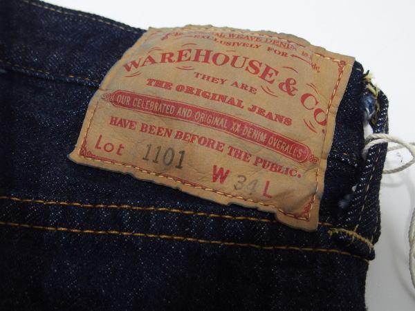 WAREHOUSE(ウエアハウス) [2ND-HAND Lot.1101/One Wash/Button-fly/ヴィンテージジーンズ/ショートタイプ]