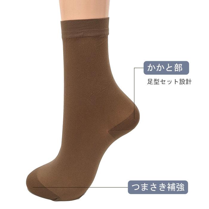 【3足セット】シルク混サポートミニクルーソックス
