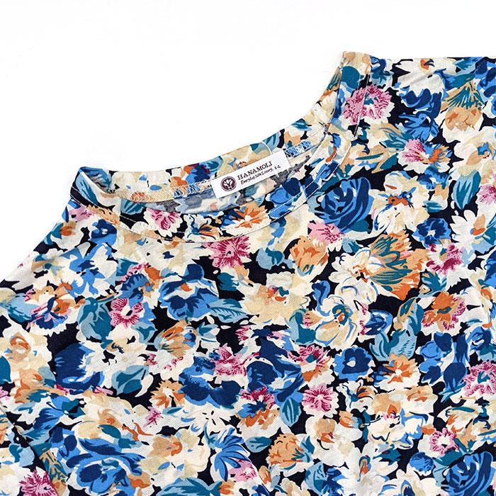 シルク長袖ワンピース(ブルー花柄)
