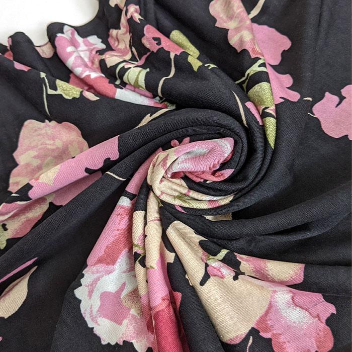 シルク長袖ワンピース(ブラック花柄)