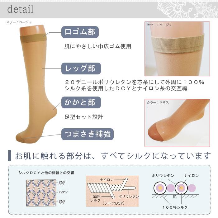 【日本製】 シルクサポートハイソックス 5色
