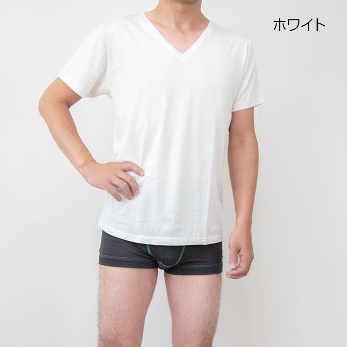シルク&コットン Vネック半袖インナー M/L/LL
