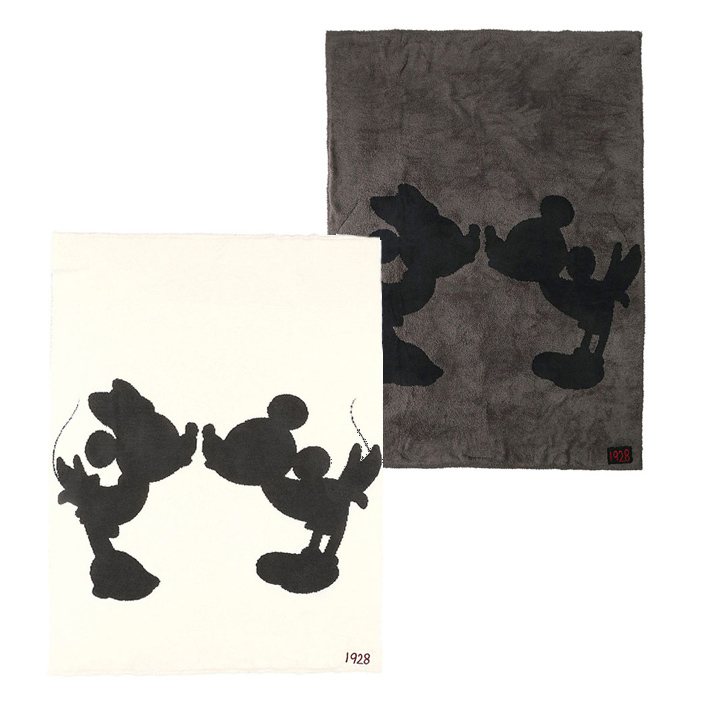 BAREFOOT DREAMS ベアフットドリームズ D103 Classic Mickey Mouse & Minnie Mouse Throw ブランケット Cream / Carbon Black