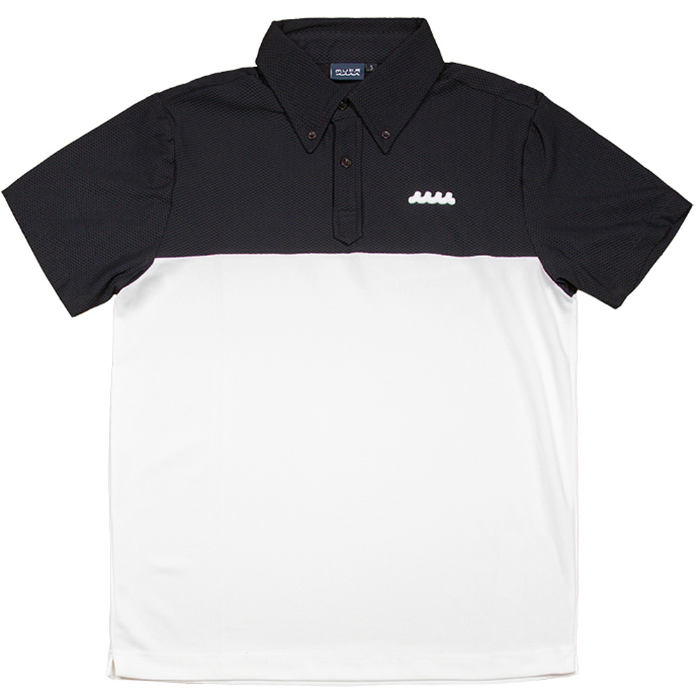 muta MARINE ストレッチメッシュ 切替ポロシャツ-BLACKxWHITE