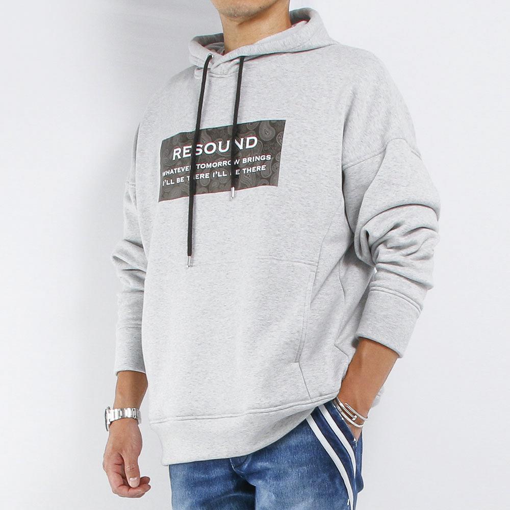 RESOUND CLOTHING フーディー BOX ROGO Boa fleece loose hoodie RC21-C-002 GREY