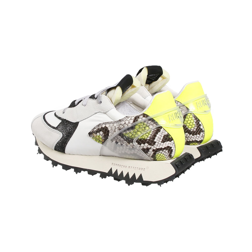 RUN OF スニーカー YELLOW PYTHON LIMITED COLLECTION RUN3S E21-40038R3S WHITE