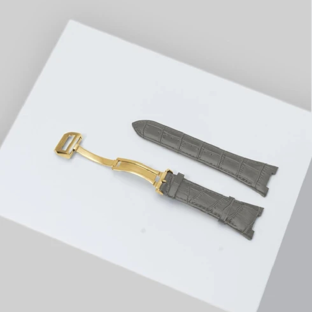 GOLDEN CONCEPT<br>WATCH STRAP LEATHER 44mm(GRAY/GOLD)