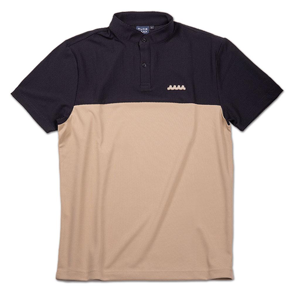 muta MARINE スタンドカラーポロシャツ MMBC-200812 BLACKxBEIGE