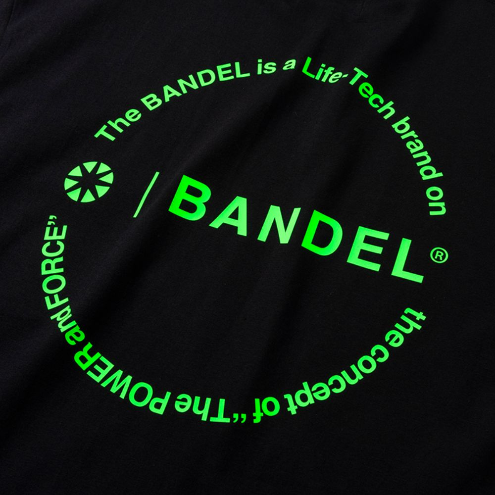 BANDEL Tシャツ Circle-Logo Short Sleeve T BAN-T023 Black x Neon Green