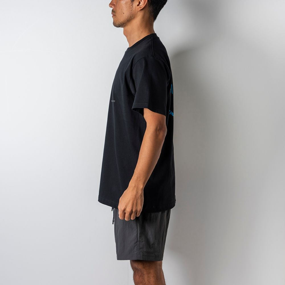 BANDEL Tシャツ Circle-Logo Short Sleeve T BAN-T023 Black x Neon Blue