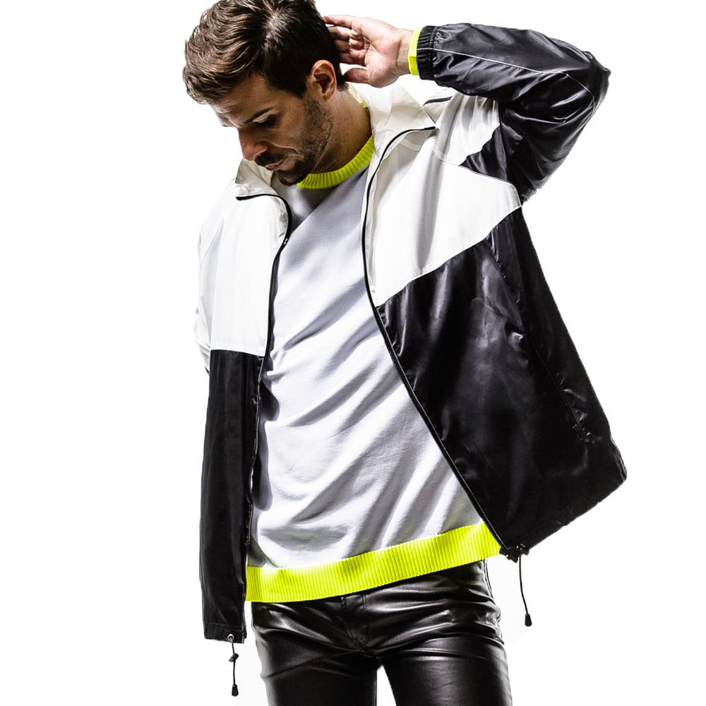 RESOUND CLOTHING ジャケット SATIN OVER Track Jacket RC14-C-003 BLACKxWHITE