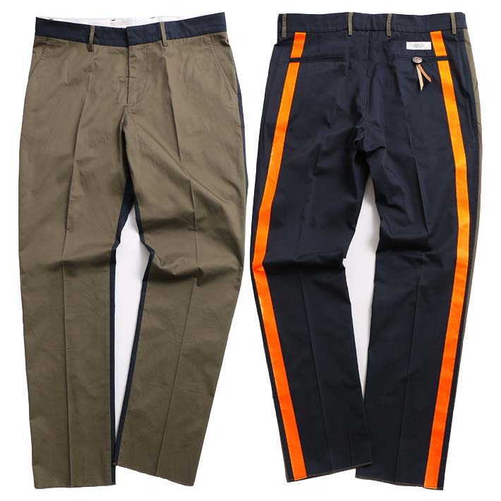 THE EDITOR スラックス TROUSERS GABARDINE COTTON WASHED BICOLOR + TRANSFER 00 NAVY-KHAKI