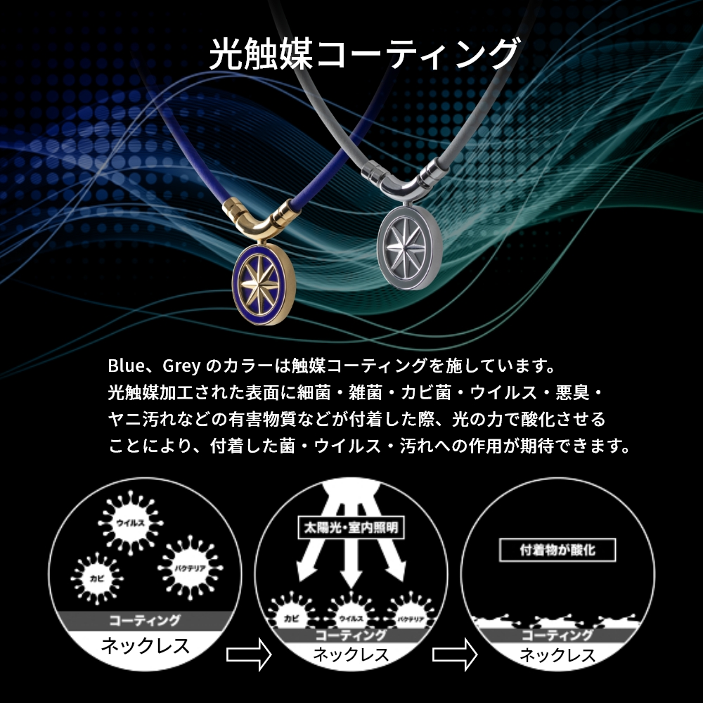 BANDEL 磁気ネックレス Healthcare Line Earth Blue x Gold