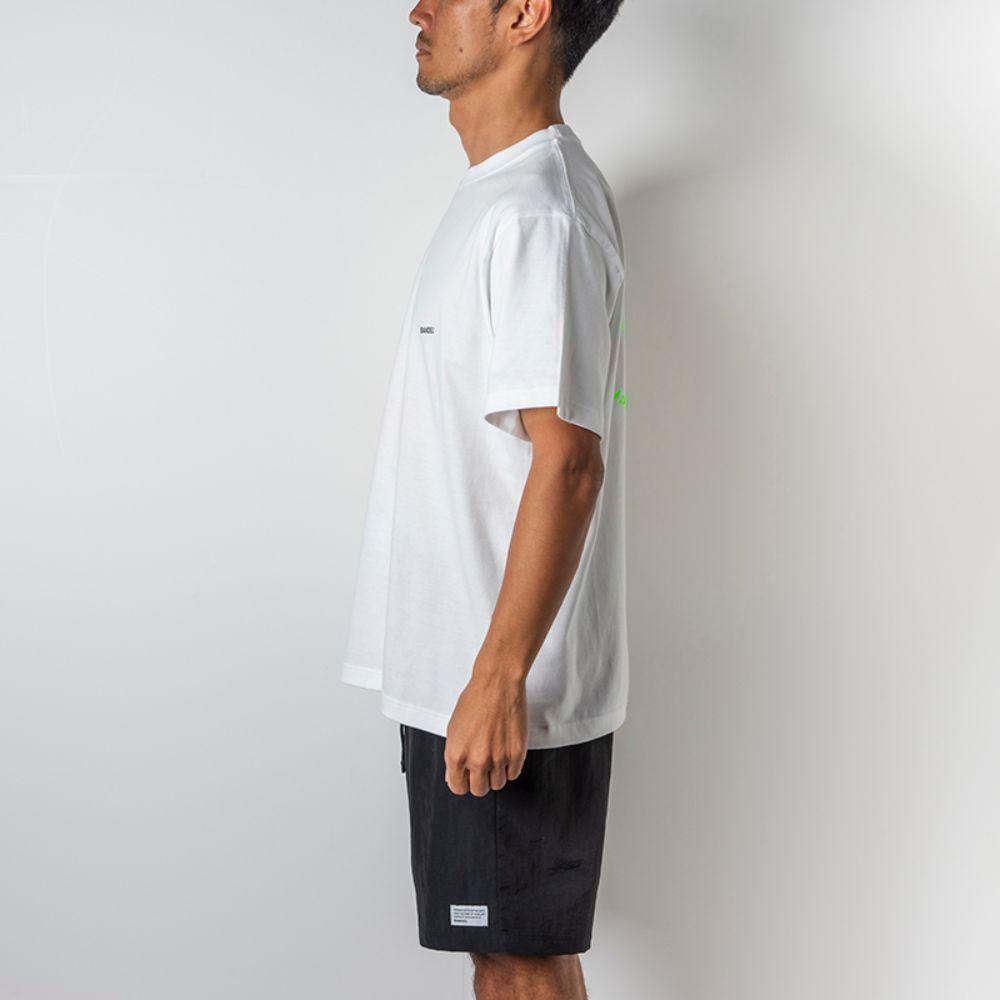 BANDEL Tシャツ Circle-Logo Short Sleeve T BAN-T023 White x Neon Green