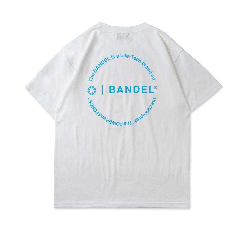BANDEL Tシャツ Circle-Logo Short Sleeve T BAN-T023 White x Neon Blue