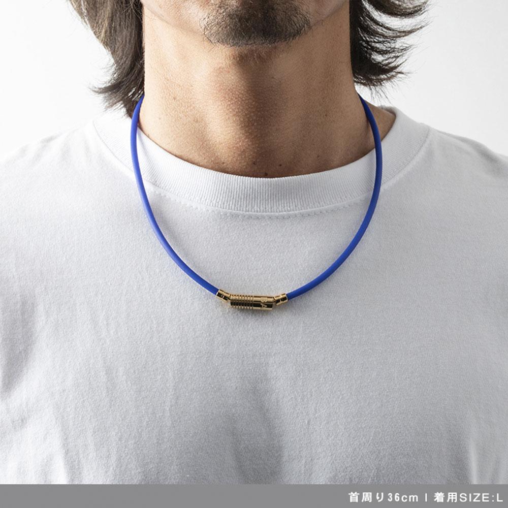 BANDEL 磁気ネックレス Healthcare Line Neutral Blue x Gold