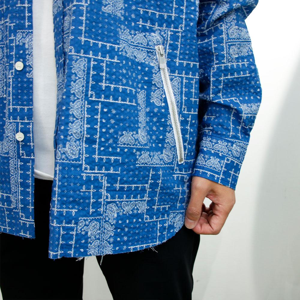 【予約】RESOUND CLOTHING シャツ BANDANA OVER gown shirts RC19-SH-002 BLUE
