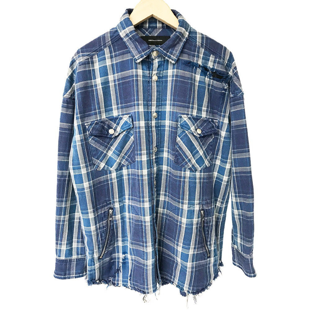 RESOUND CLOTHING シャツ vintage CHECK OVER gown shirts RC18-SH-002 BLUE