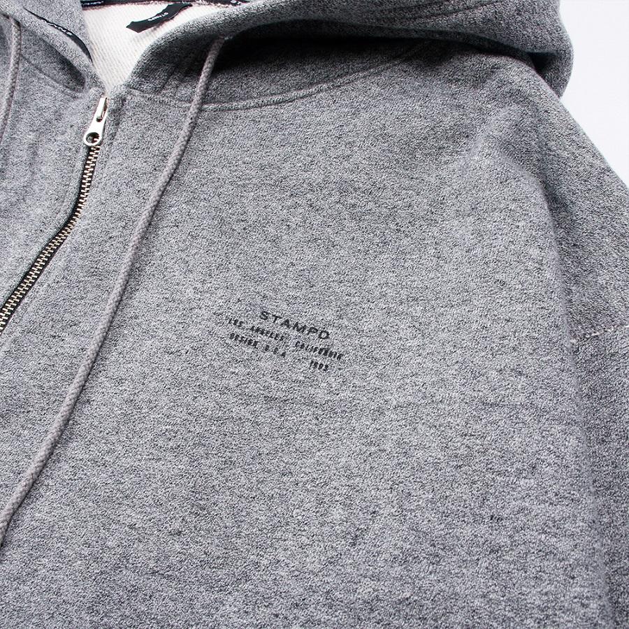 STAMPD フーディー Stacked Logo Zip Up Hoodie SLA-M2152HD Heather Grey