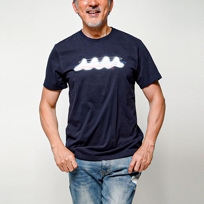 muta MARINE Tシャツ 手書きWAVE ペイント MMJC-434094 NAVY