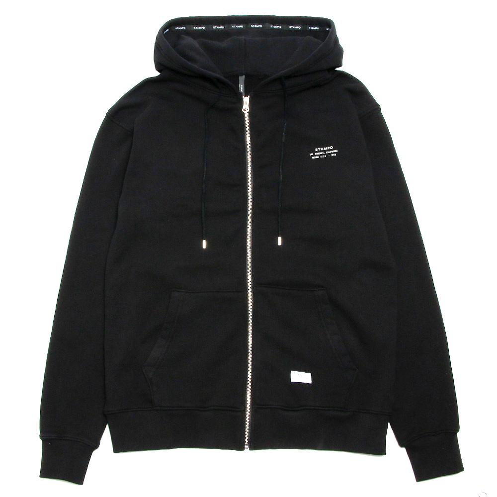 STAMPD ジップアップフーディー Stacked Logo Zip Up Hoodie SLA-M2152HD BLACK