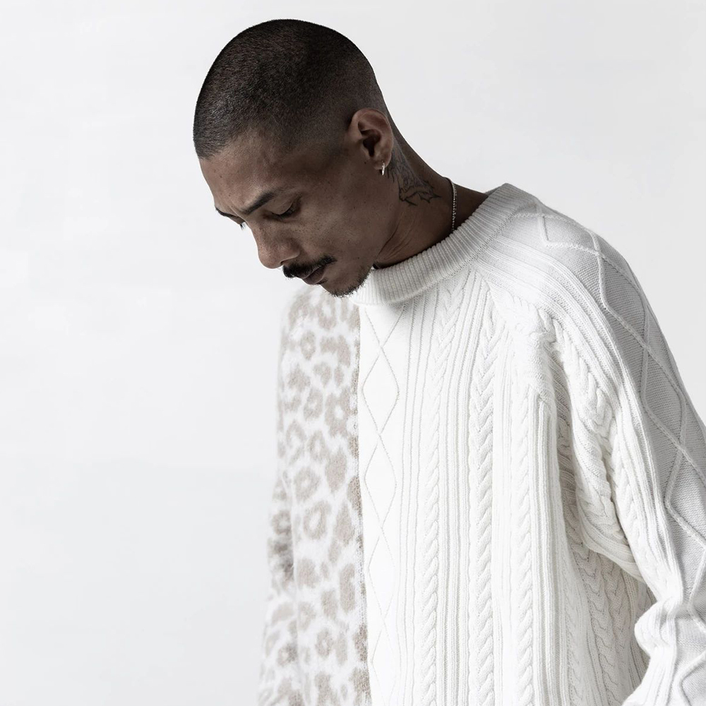 STAMPD セーター Cheetah Blocked Sweater OFF WHITE