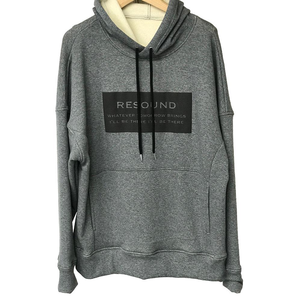 RESOUND CLOTHING フーディ BOX LOGO Boa fleece loose hoodie RC17-C-002 / CHARCOAL GREY