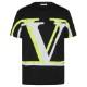 VALENTINO Tシャツ VLOGO OMBRA PRINT UV3MG08C6K7 BLACKxYELLOW