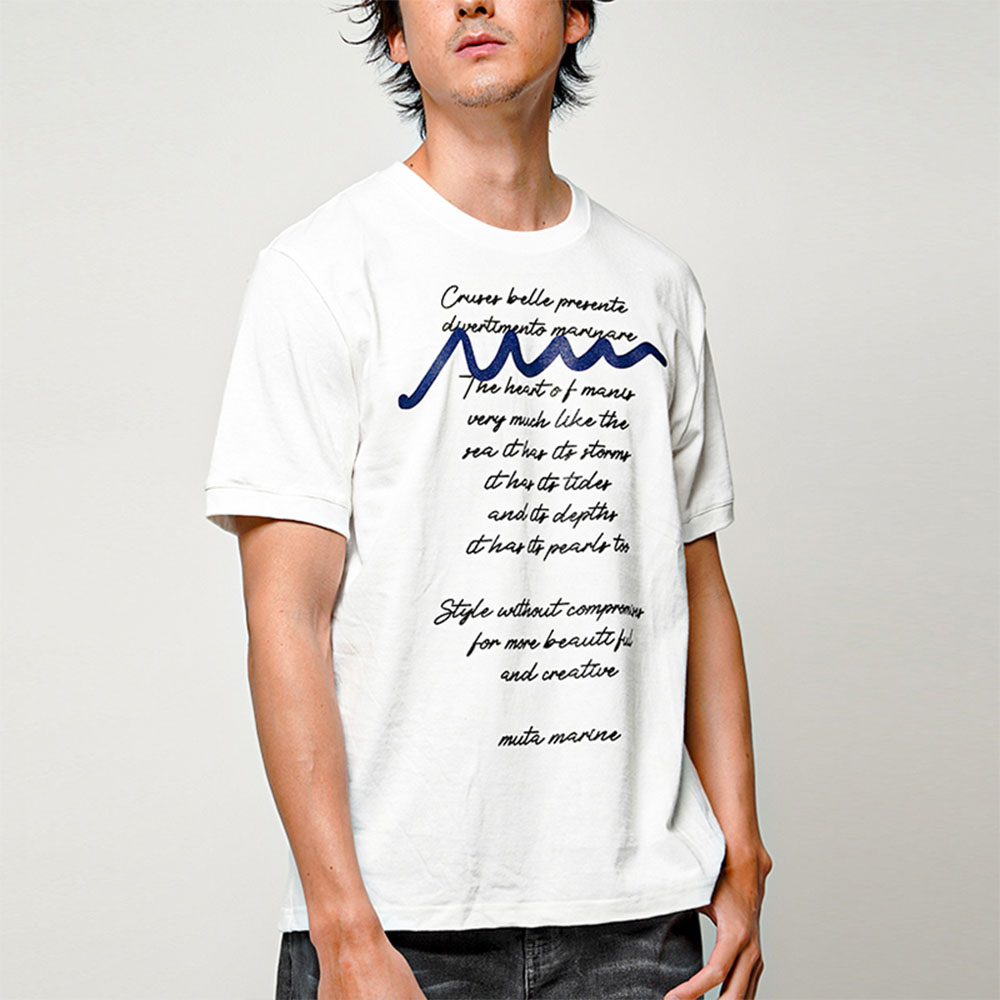 muta MARINE Tシャツ LETTERED MMAX34105 WHITE