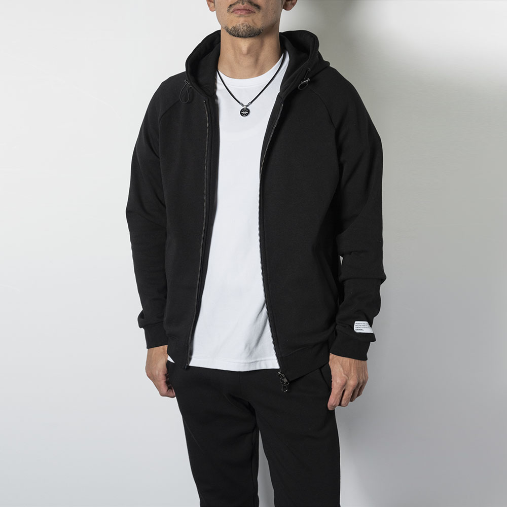 BANDEL ジップフーディー Sleeve Woven Label BAN-ZH002 BLACK