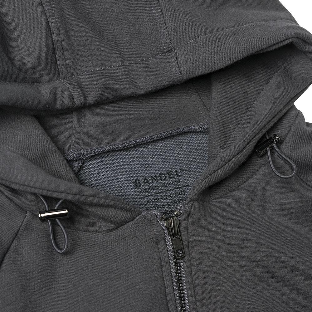 BANDEL ジップフーディー Sleeve Woven Label BAN-ZH002 CHARCOAL GREY