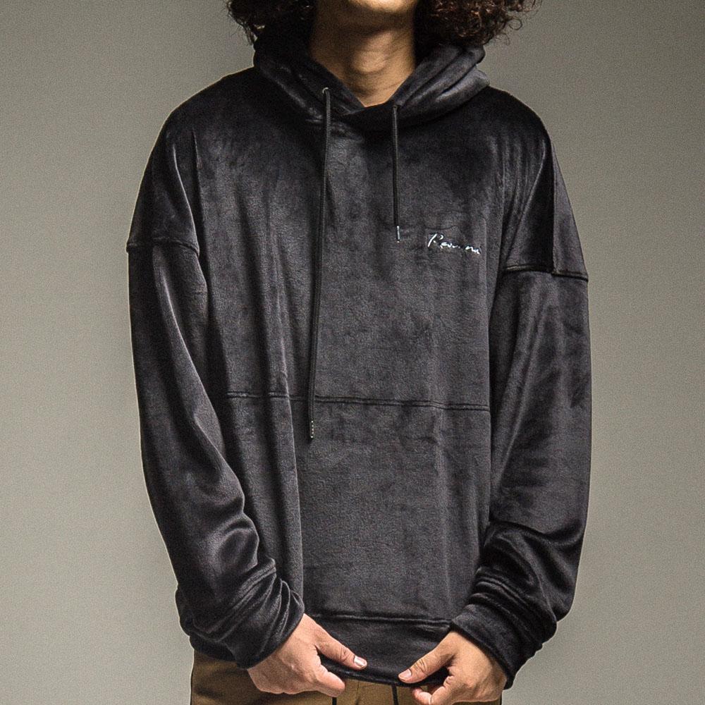 【予約】 RESOUND CLOTHING フーディー Double Velours fleece  loose hoodie RC22-C-006 BLACK