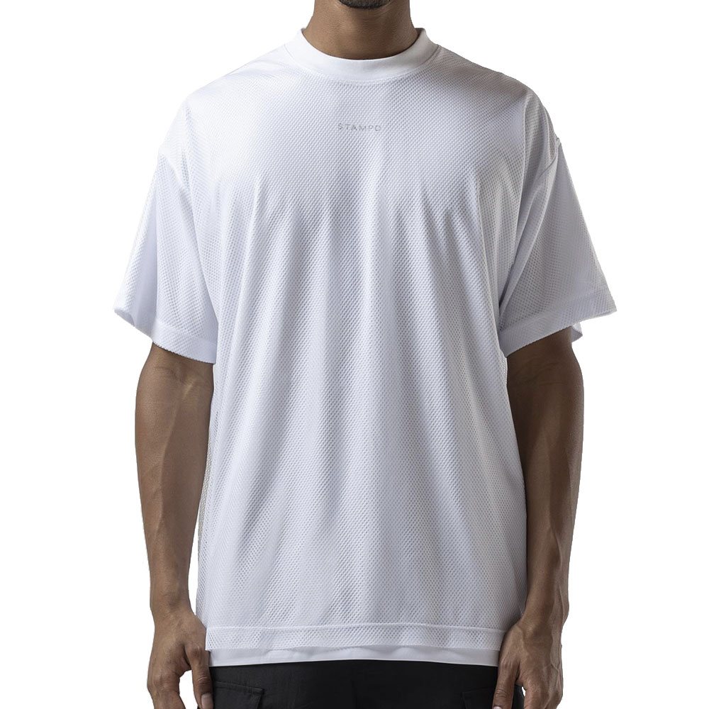 STAMPD Tシャツ Layered Mesh Tee S-M2486FT WHITE